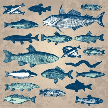 marine creatures background fishes icons dark retro sketch