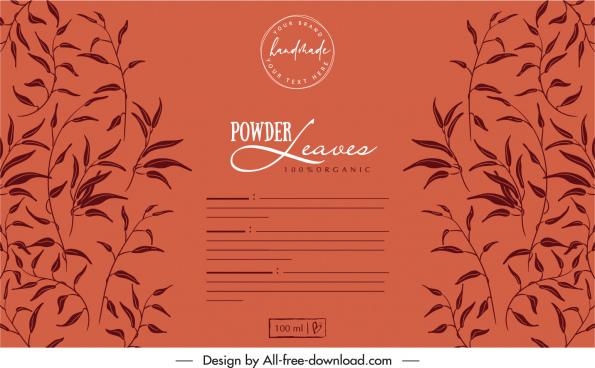 powder label template dark retro handdrawn leaves sketch