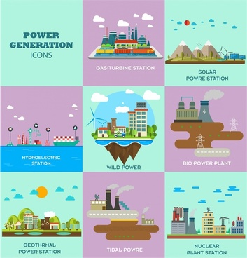 power generation icons isolated with various types