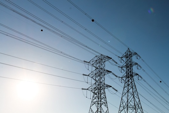 power lines on electric tower