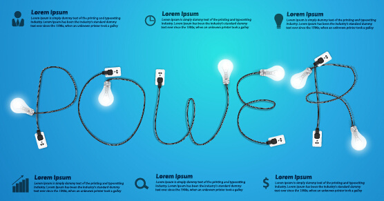 power supply with light bulb creative business template