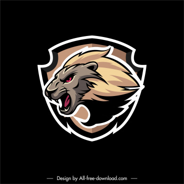 powerful label template aggressive lion sketch flat design
