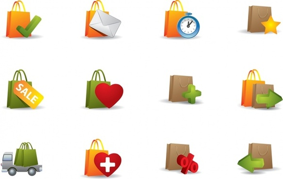 sale icons colorful modern bag shapes