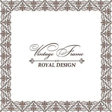 document frame template elegant retro symmetric seamless decor