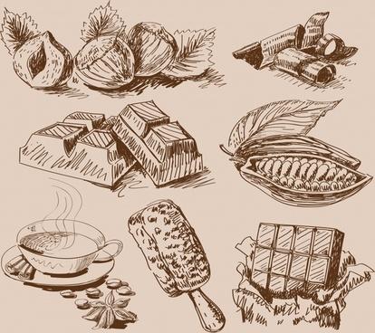cacao food design elements vintage handdrawn sketch