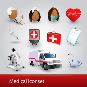 medical icons colored modern symbols sketch