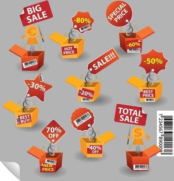 sale tag templates modern 3d box design