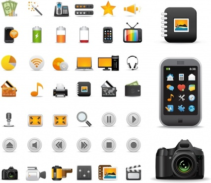 practical icons collection modern colored flat symbols sketch