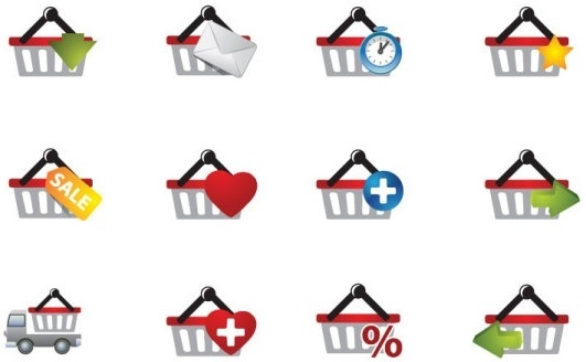 practical shopping basket icon vector