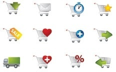 practical shopping cart icon vector
