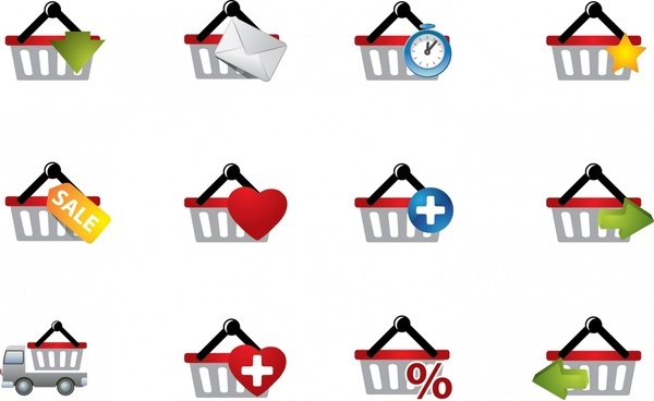 shopping cart icons modern colorful flat design
