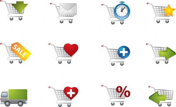 shopping transportation icons modern flat shapes