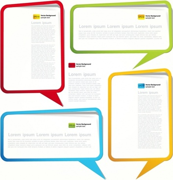 dialog box templates colorful modern speech bubble sketch