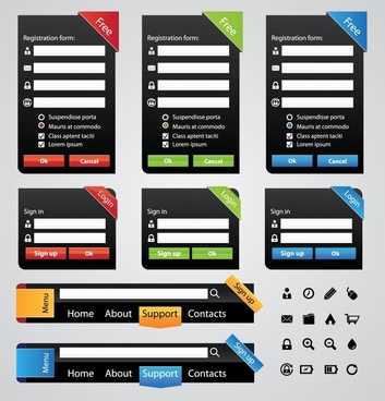 web design elements colored modern flat shapes