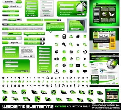 web design elements modern elegant green black decor