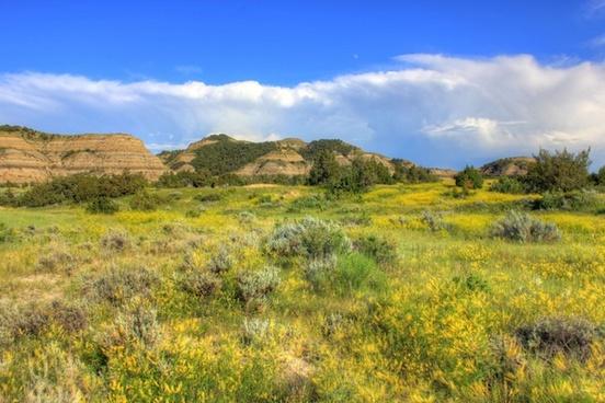 prairie and hills at theodore roosevelt national park north dakota