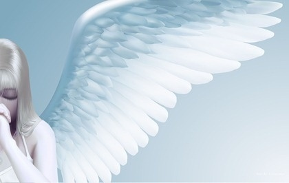 praying angel drawing bright realistic style design
