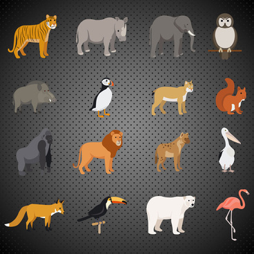 precious animals icons vector illustration