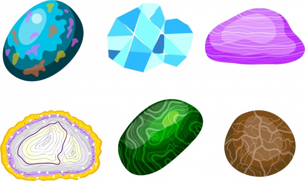 precious gemstones icons colorful shiny design