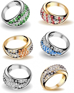 wedding rings templates luxury stones decor 3d sketch
