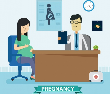 pregnancy drawing doctor pregnant woman icons colored cartoon