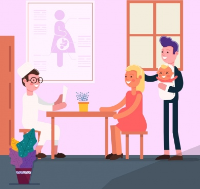 pregnancy time background doctor family icons cartoon design