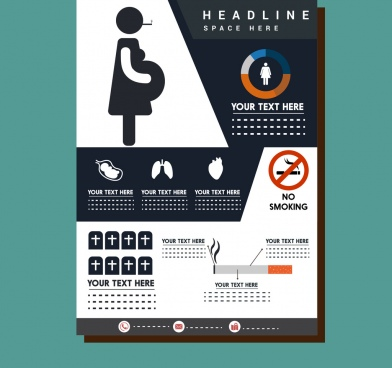 pregnant health infographic design colored flat style