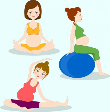 pregnant icons exercising gestures cartoon characters