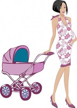 pregnant stroller vector