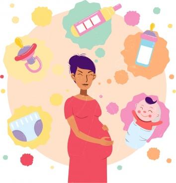 pregnant woman background multicolored grunge decor infant symbols