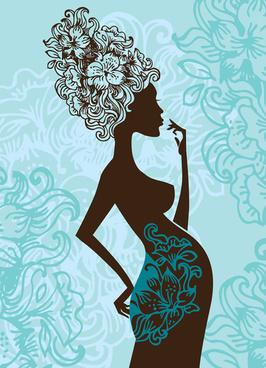 pregnant woman design elements vector set
