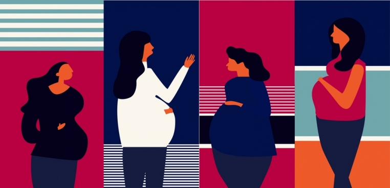 pregnant woman icons colored classical design
