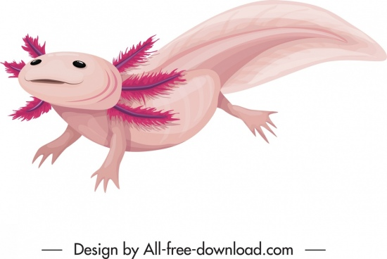 prehistoric animal icon amphibian creature colored classical sketch