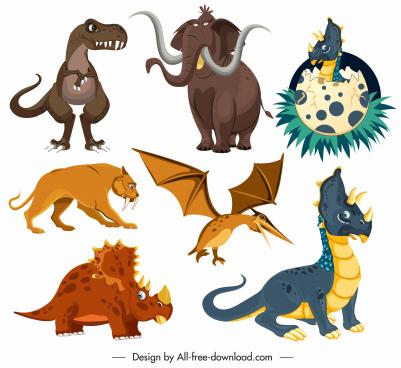 prehistoric animals species icons colored cartoon design
