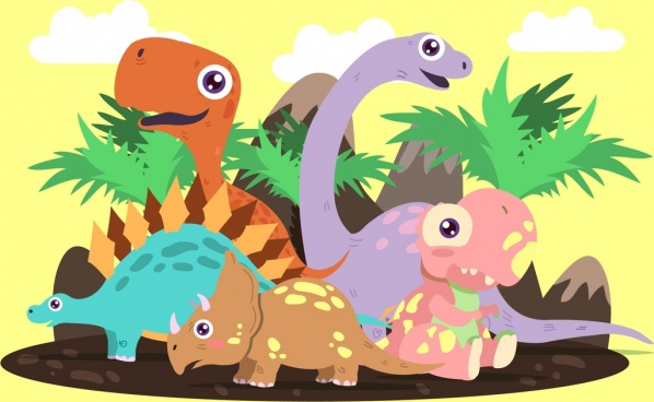 prehistory background dinosaurs icons colored cartoon design