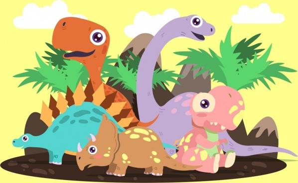 prehistory background dinosaurs icons colored cartoon design