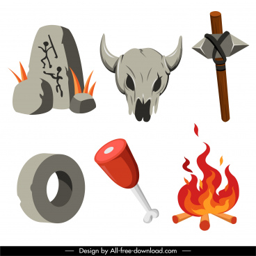 prehistory design elements stone tool skull fire sketch