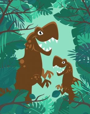 prehistory drawing fierce dinosaur green jungle icons