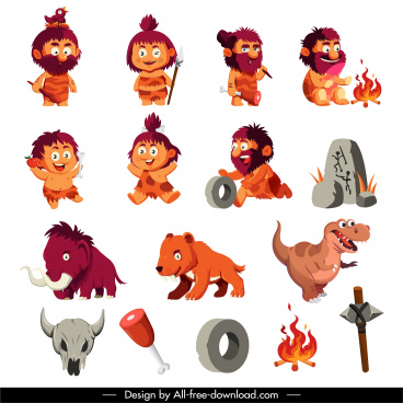 prehistory icons caveman wild animals sketch