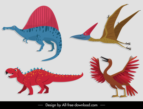 prehistory species icons colored flat design