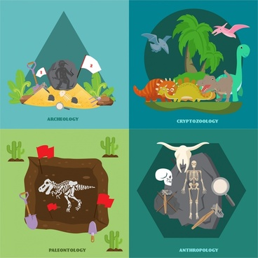 prehistory vector illustration with archaelogy and dinosaur
