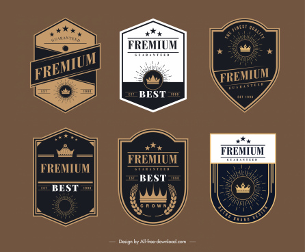 premium badge templates elegant crown star decor