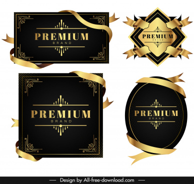premium design templates elegant black golden ribbon labels