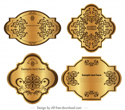 premium label templates luxury shiny golden symmetric decor