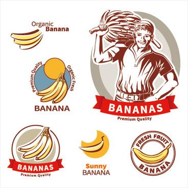 premium quality banana labels vector set