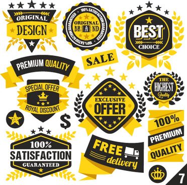 premium quality black with yellow labels and badges vector