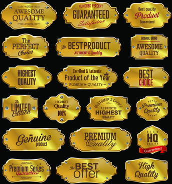 premium quality golden labels shiny vector set