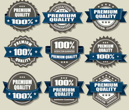 premium quality labels and blue ribbon vector