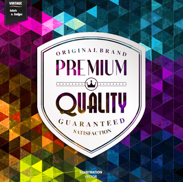 premium quality labels with grunge background vector