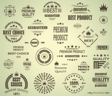 premium quality labels with logos vintage vector